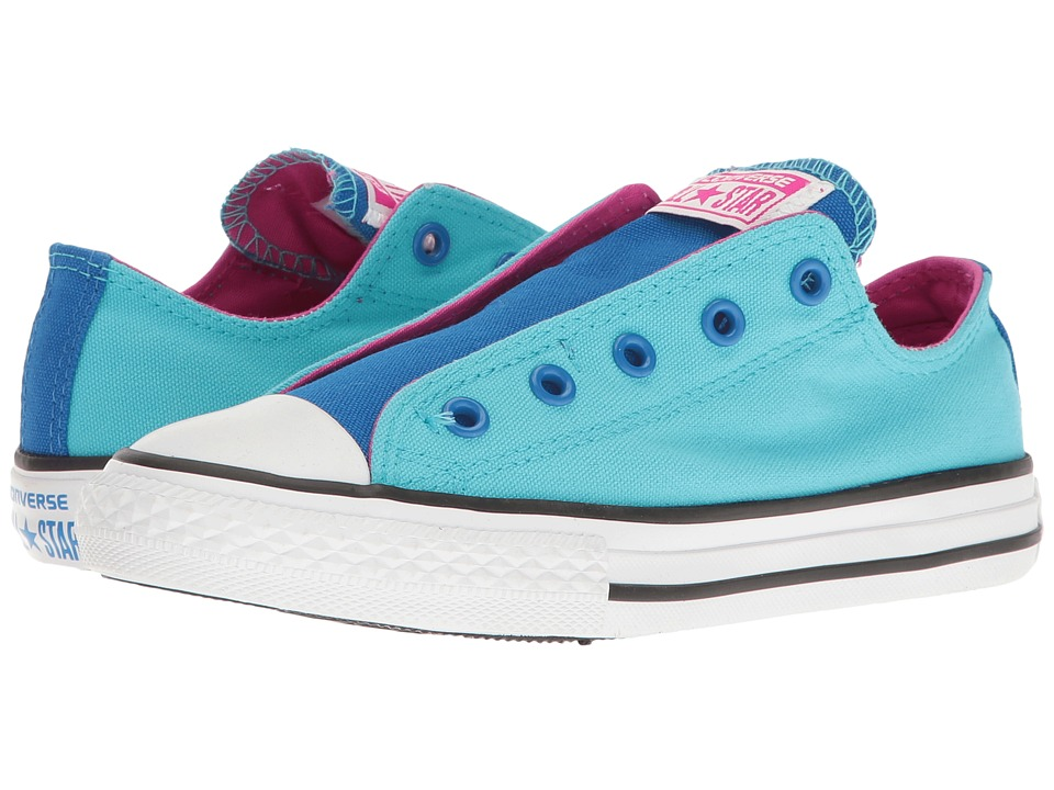 Converse Kids - Chuck Taylor All Star Slip (Little Kid/Big Kid) (Fresh Cyan/Soar/Magenta Glow) Girl's Shoes