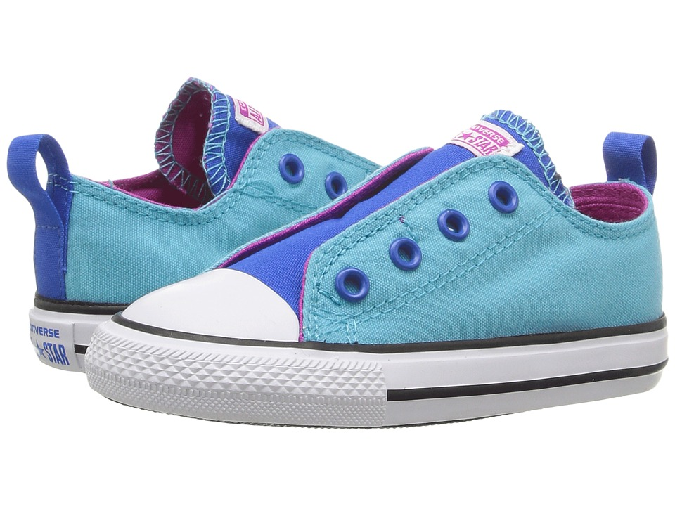 Converse Kids - Chuck Taylor All Star Simple Slip Ox (Infant/Toddler) (Fresh Cyan/Magenta Glow/White) Girl's Shoes