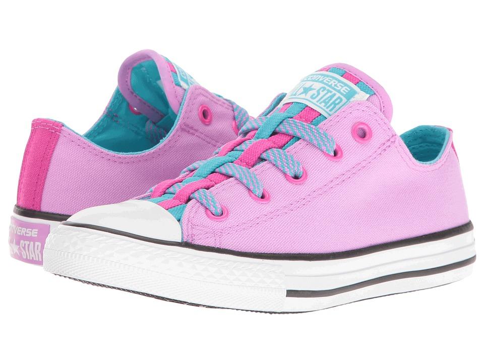 Converse Kids Chuck Taylor All Star Loopholes Ox (Little Kid/Big Kid) (Fuchsia Glow/Fresh Cyan/White) Girl