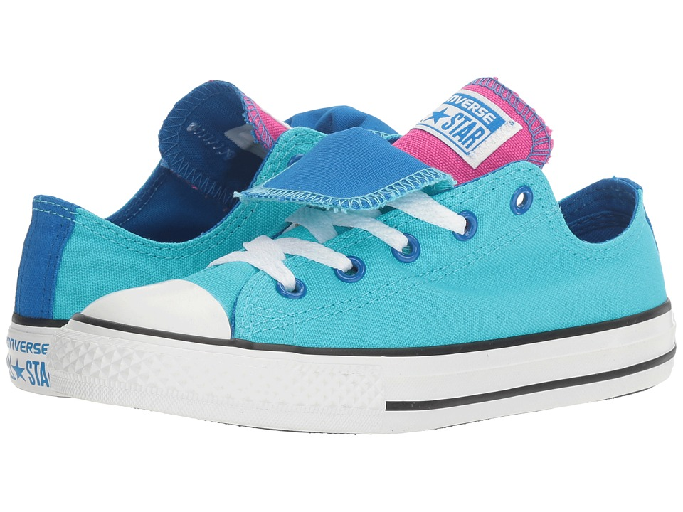 Converse Kids - Chuck Taylor All Star Double Tongue Ox (Little Kid/Big Kid) (Fresh Cyan/Soar/White) Girl's Shoes