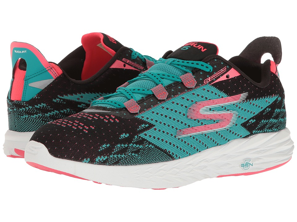 SKECHERS - Go Run 5 (Black/Teal) Women's Running Shoes