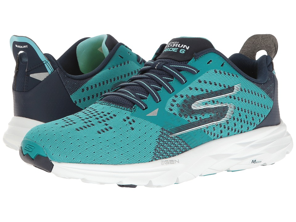 SKECHERS - Go Run Ride 6 (Teal/Navy) Women's Running Shoes