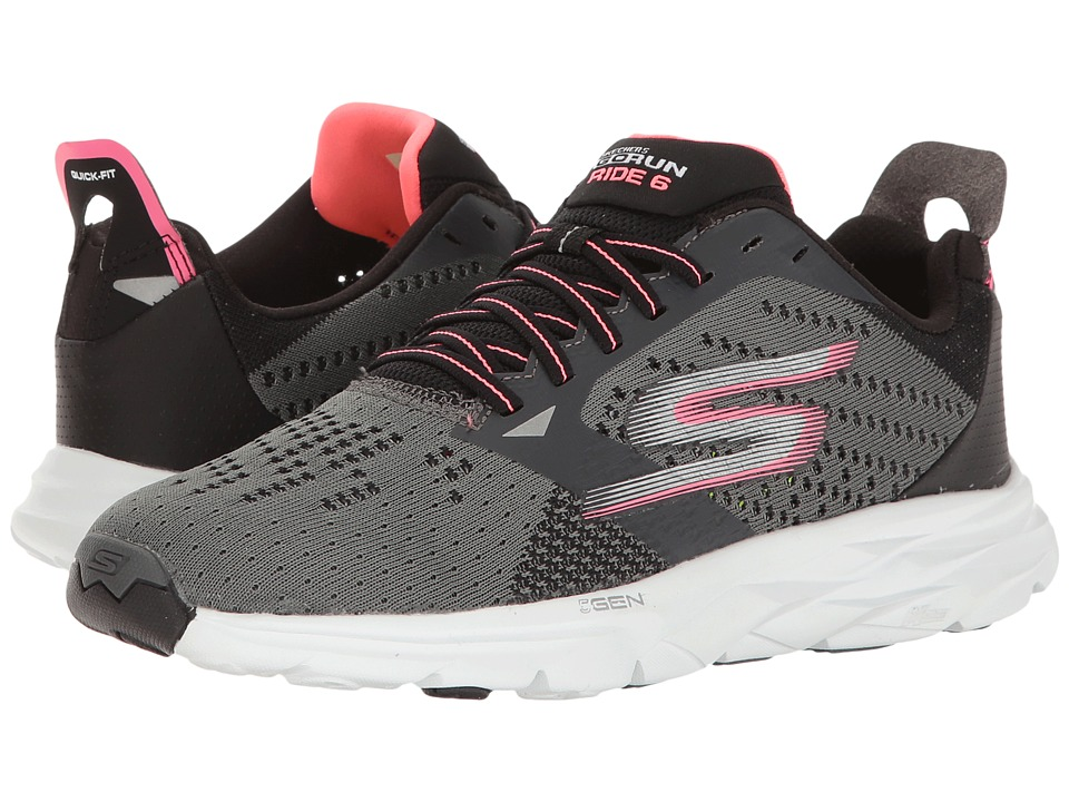 SKECHERS - Go Run Ride 6 (Charcoal/Pink) Women's Running Shoes