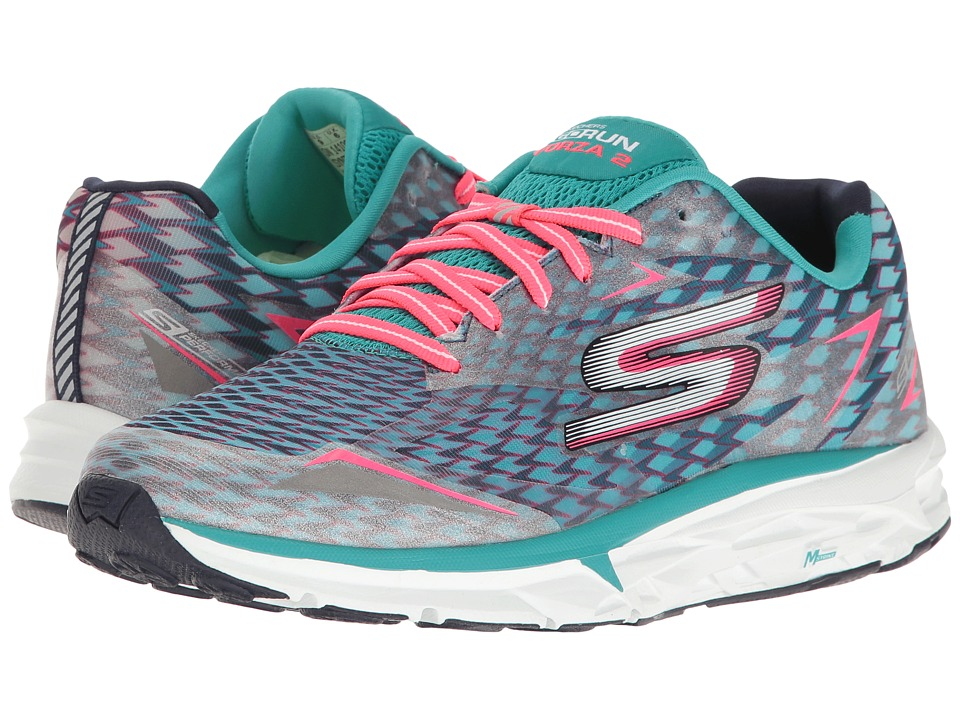 SKECHERS - Go Run Forza 2017 (Navy/Aqua) Women's Running Shoes
