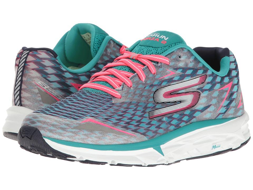 SKECHERS - Go Run Forza 2017 (Navy/Aqua) Women's Running Shoes
