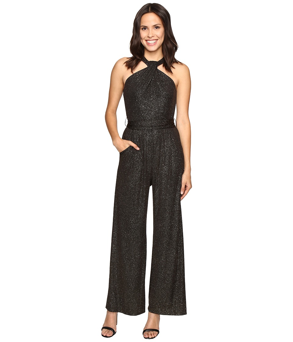 Tahari by ASL - Sparkle Halterneck Jumpsuit with Stretch (Black/Gold) Women's Jumpsuit & Rompers One Piece