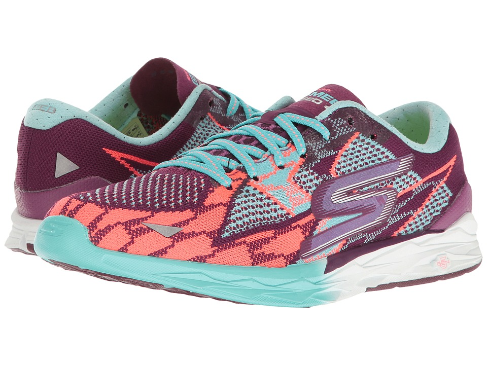 SKECHERS - Go Meb Speed 4 (Purple/Aqua) Women's Running Shoes