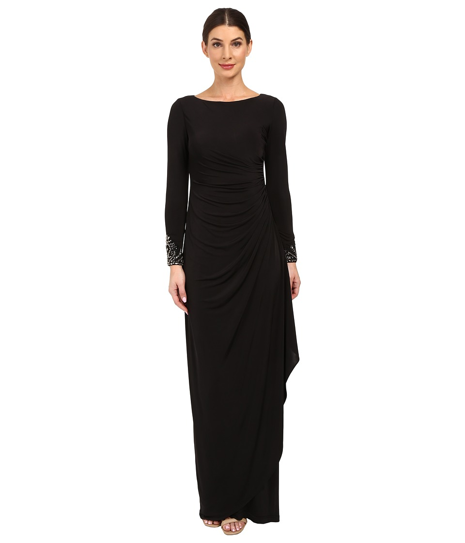 Adrianna Papell - Venecian Jersey Draped Gown (Black) Women's Dress