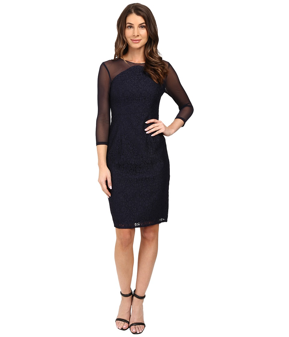 Adrianna Papell - Power Mesh and Lace Shift Dress (Navy) Women's Dress