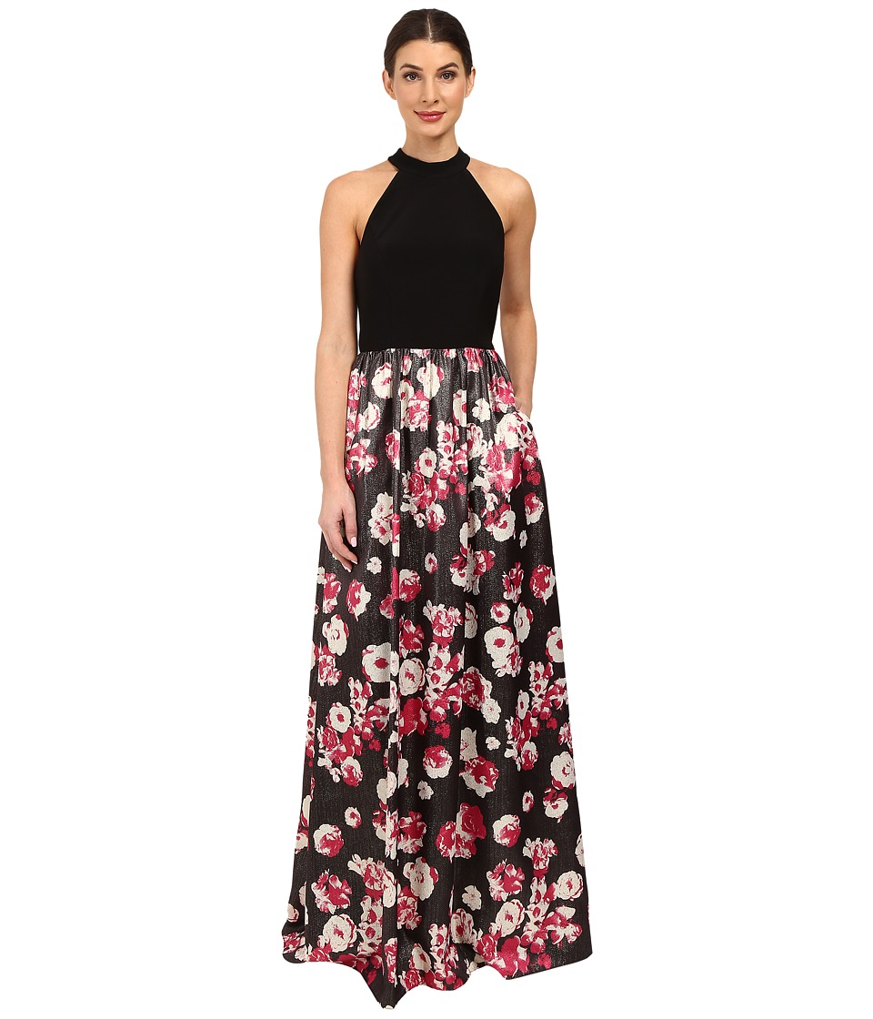 Adrianna Papell Jersey Halter Bodice and Jacquard Skirt Black Multi Dress