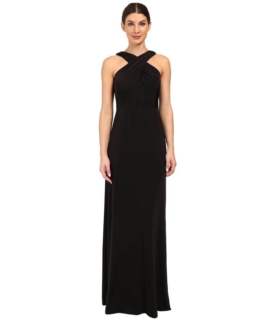 Adrianna Papell - Crossover Halter Jersey Gown (Black) Women's Dress