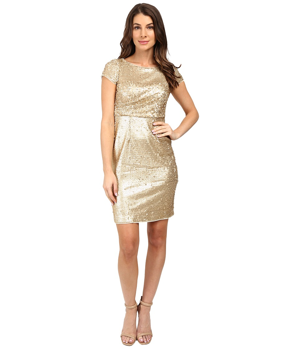 Adrianna Papell - Short Sleeve Draped All Over Sequin Cocktail Dress (Matte Gold) Women's Dress