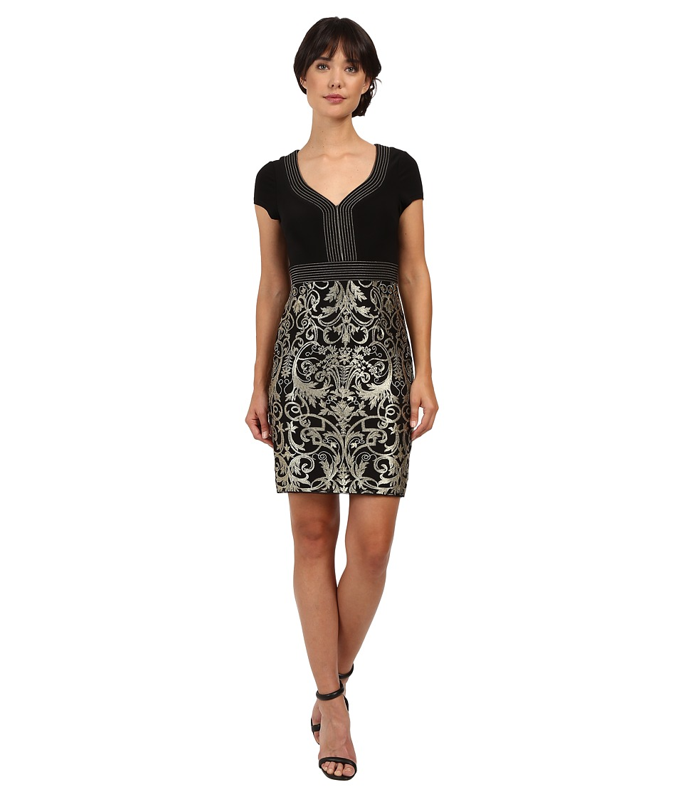 Adrianna Papell - Matte Jersey Bodice with Lace Metallic Skirt (Black/Gold) Women's Dress