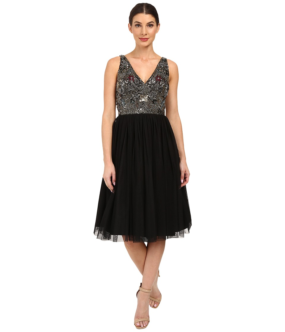 Adrianna Papell - Sleeveless Beaded Bodice Tulle Party Dress (Black) Women's Dress
