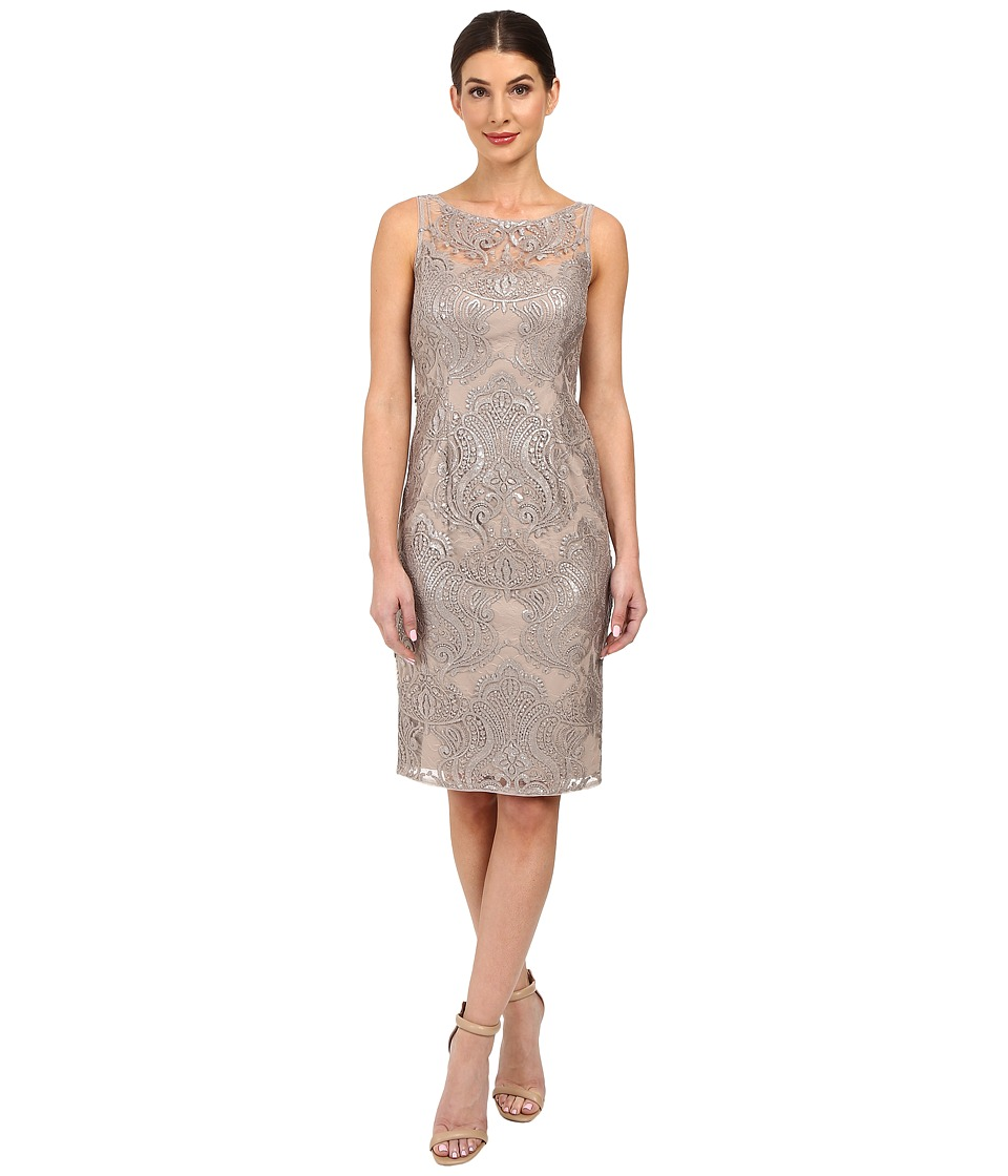 Adrianna Papell - Sequin Embroidered Lace Sheath Dress (Mink) Women's Dress