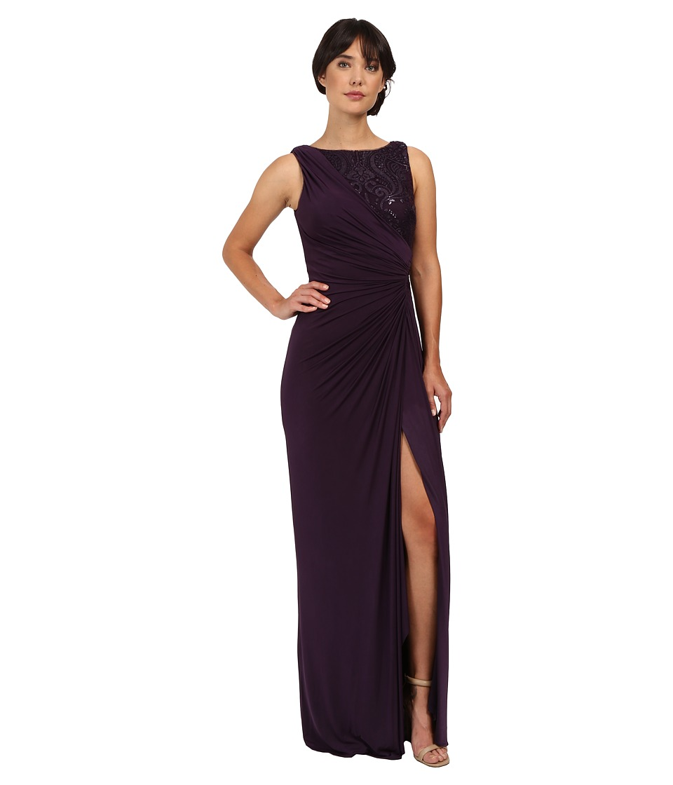 Adrianna Papell - Draped Venecian Jersey Gown with Sequin Embroidered Lace (Aubergine) Women's Dress