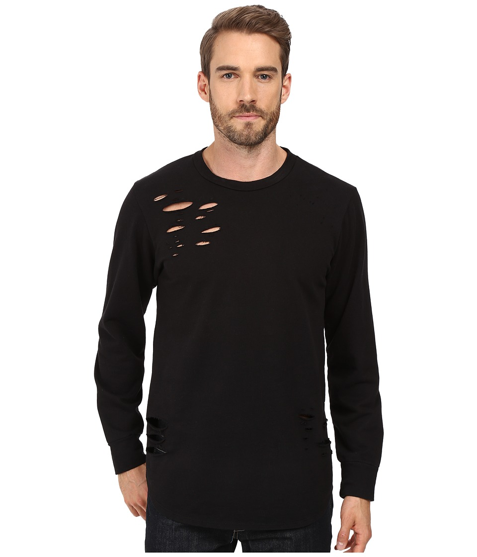 Rustic Dime - Distressed Long Sleeve Tee (Black) Men's T Shirt