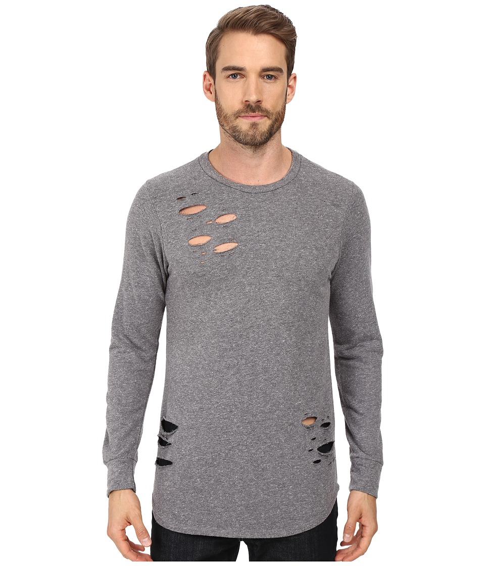 Rustic Dime - Distressed Long Sleeve Tee (Heather Grey) Men's T Shirt