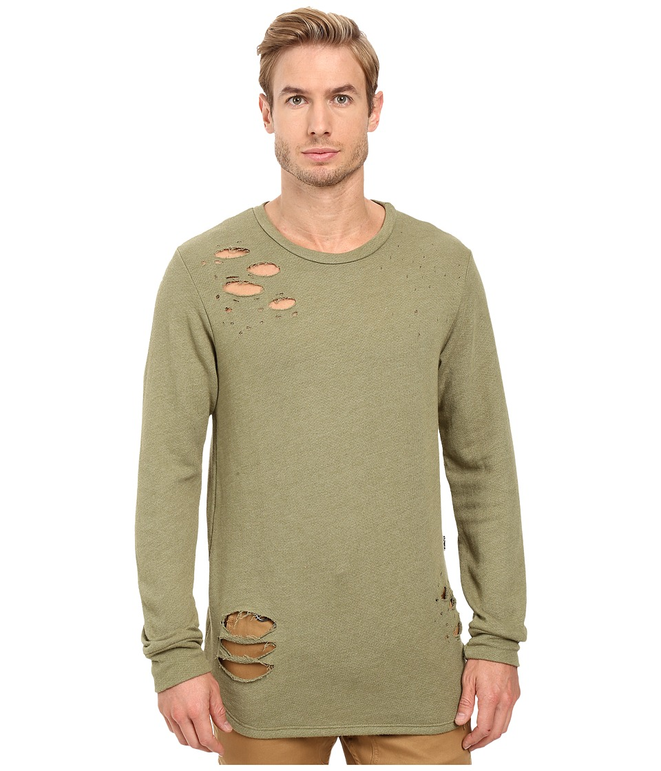Rustic Dime - Distressed Long Sleeve Tee (Olive) Men's T Shirt