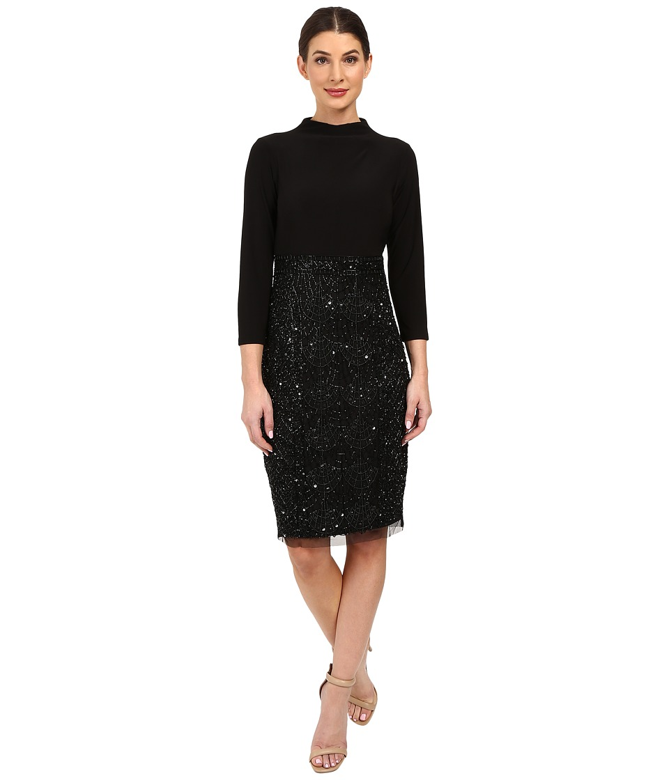 Adrianna Papell - Mock Neck Jersey Bodice with Fully Beaded Skirt (Black) Women's Skirt