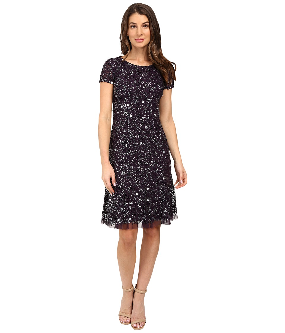 Adrianna Papell Short Sleeve Crunchy Beaded Short Dress with Godets (Amethyst) Women