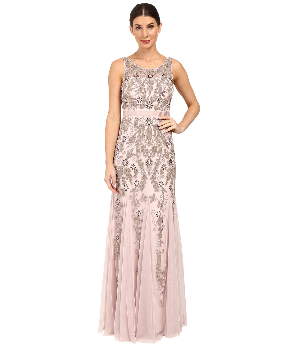Adrianna Papell - Sleeveless Illusion Yoke Gown with Godets (Icy Lilac) Women's Dress