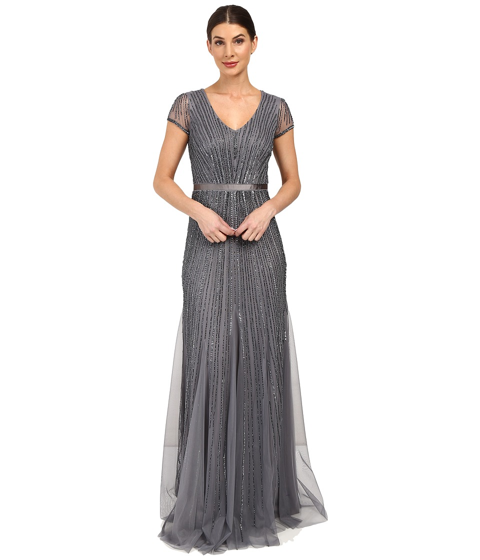 Adrianna Papell - Short Sleeve V-Neck Gown with Godets (Sterling) Women's Dress