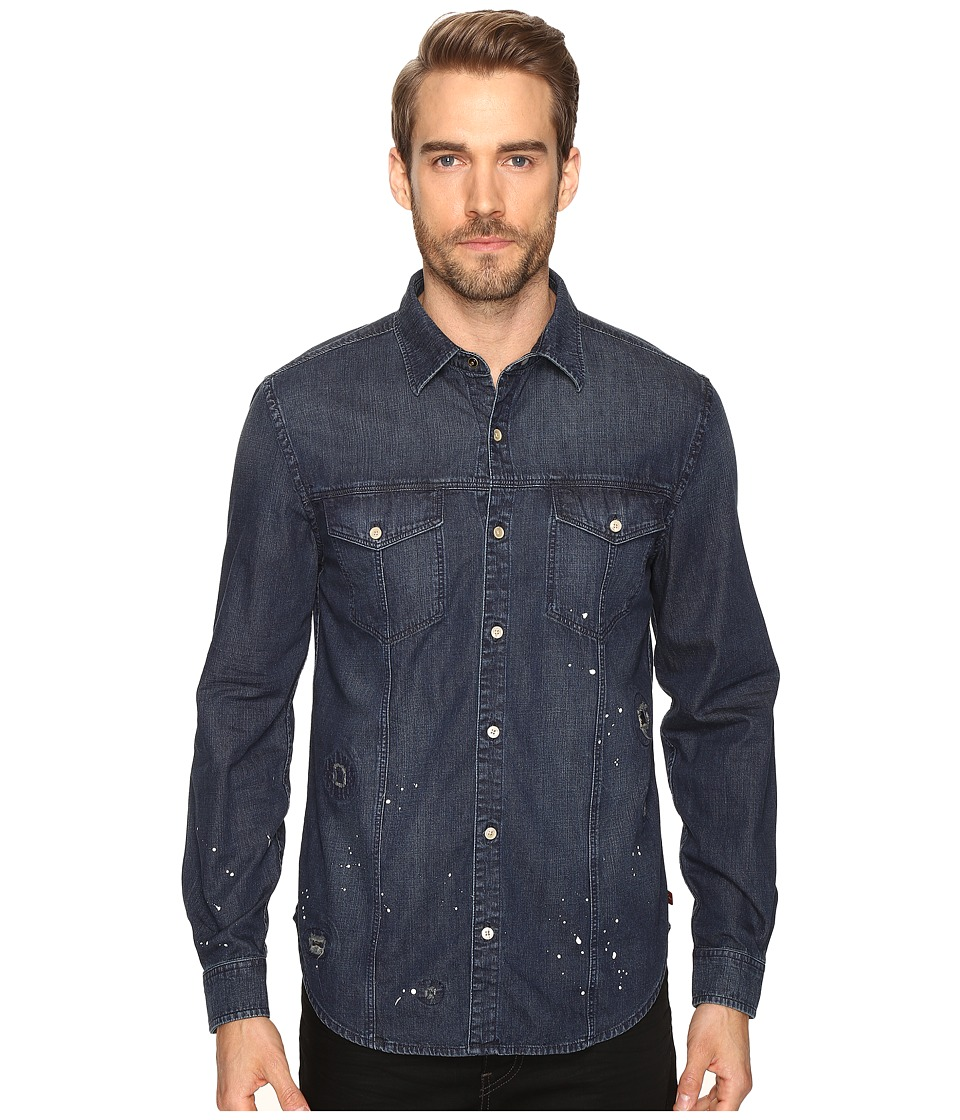 7 For All Mankind - Destroyed Denim Trucker Shirt (Destroyed Indigo) Men's Clothing