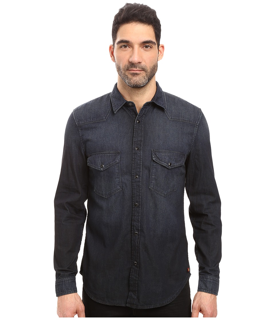 7 For All Mankind - Western Shirt (Indigo Black) Men's Long Sleeve Button Up