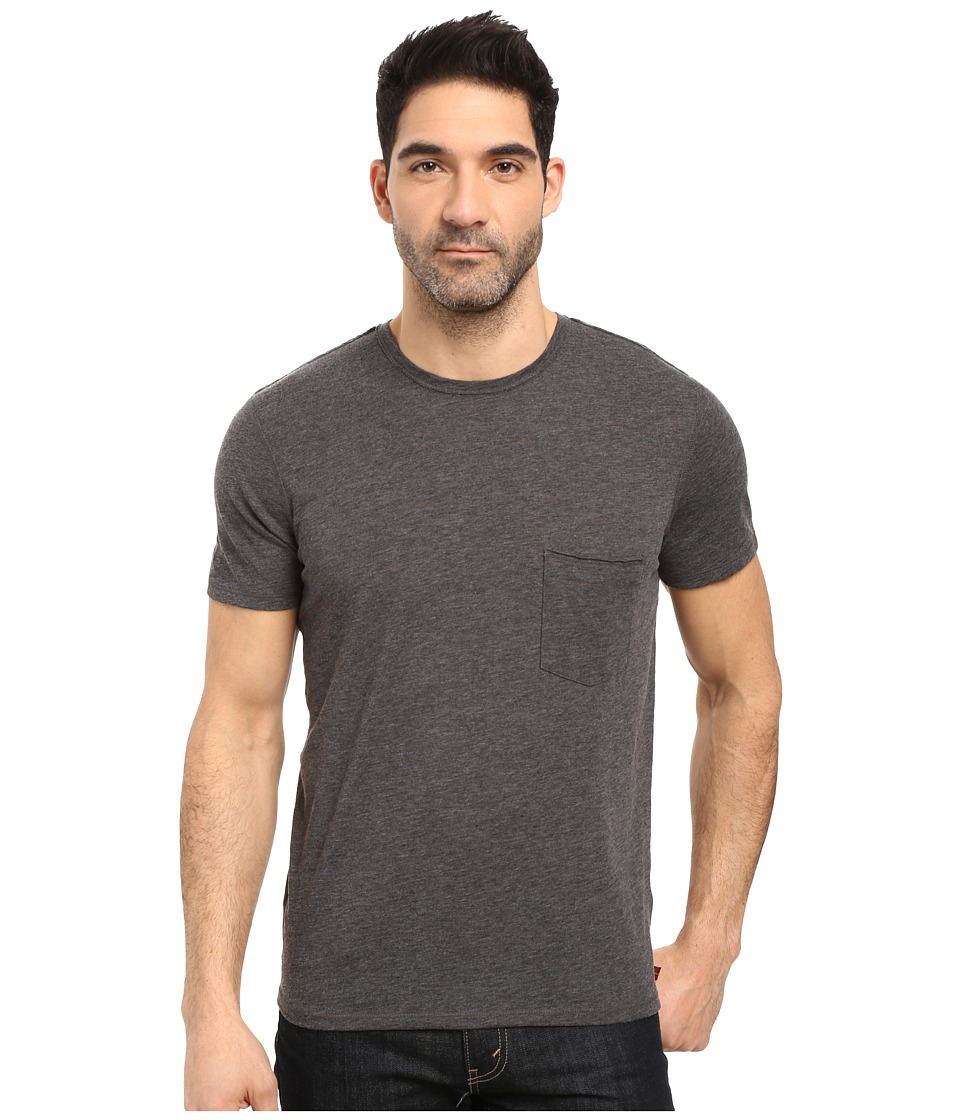 7 For All Mankind - Short Sleeve Raw Pocket Crew (Heather Charcoal) Men's Clothing