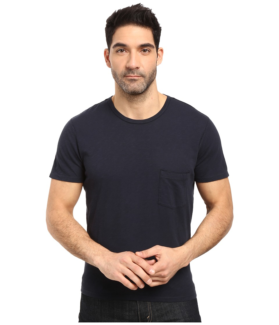 7 For All Mankind - Short Sleeve Raw Pocket Crew (Navy) Men's Clothing