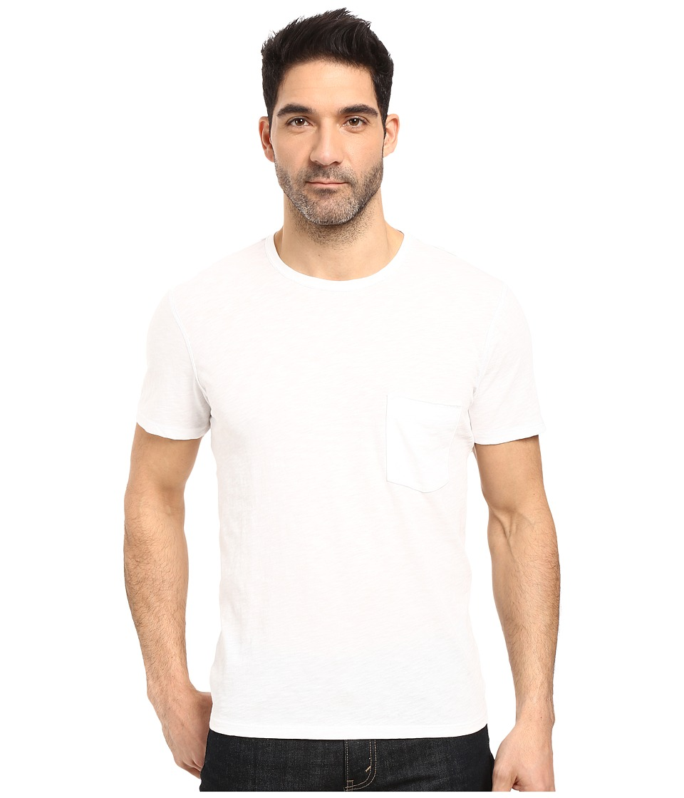 7 For All Mankind - Short Sleeve Raw Pocket Crew (White) Men's Clothing