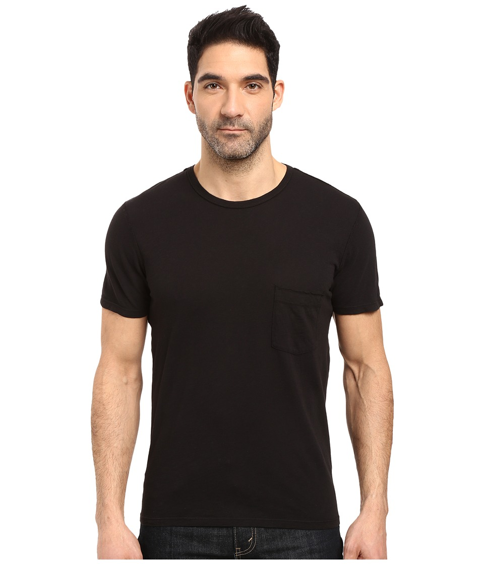 7 For All Mankind - Short Sleeve Raw Pocket Crew (Black) Men's Clothing