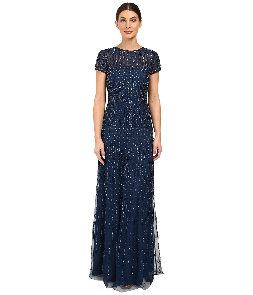 Adrianna Papell - Short Sleeve Fully Beaded Gown (Deep Blue) Women's Dress