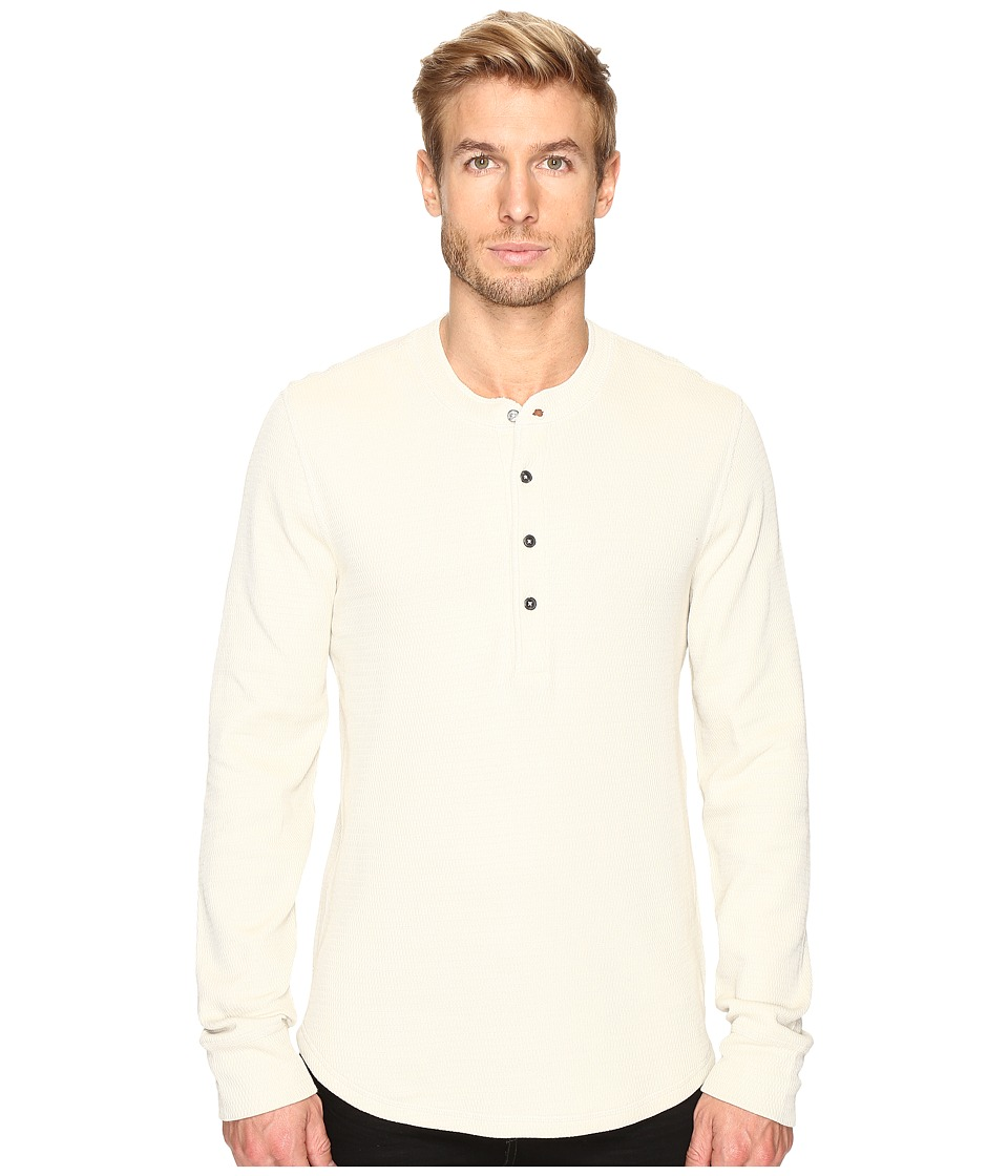 7 For All Mankind - Long Sleeve Thermal Henley (Ecru) Men's Clothing