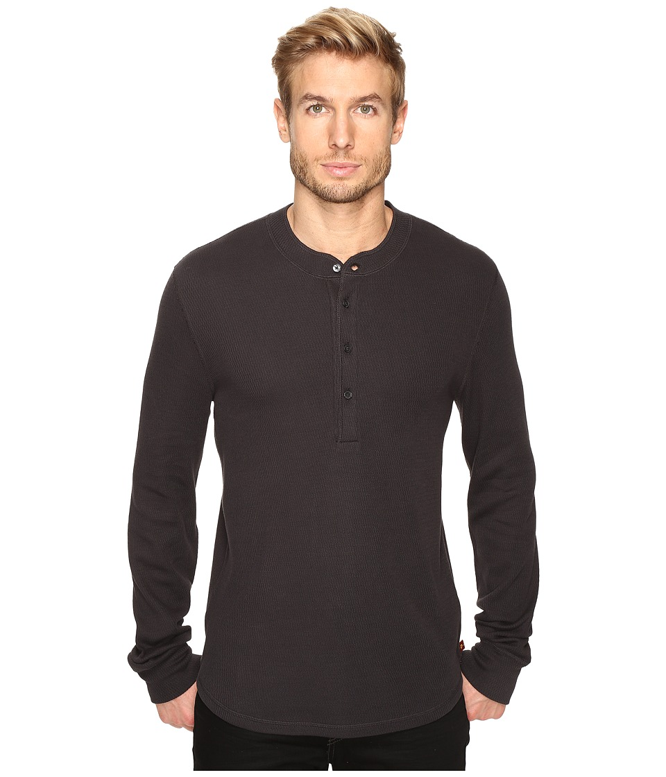 7 For All Mankind - Long Sleeve Thermal Henley (Heather Grey) Men's Clothing