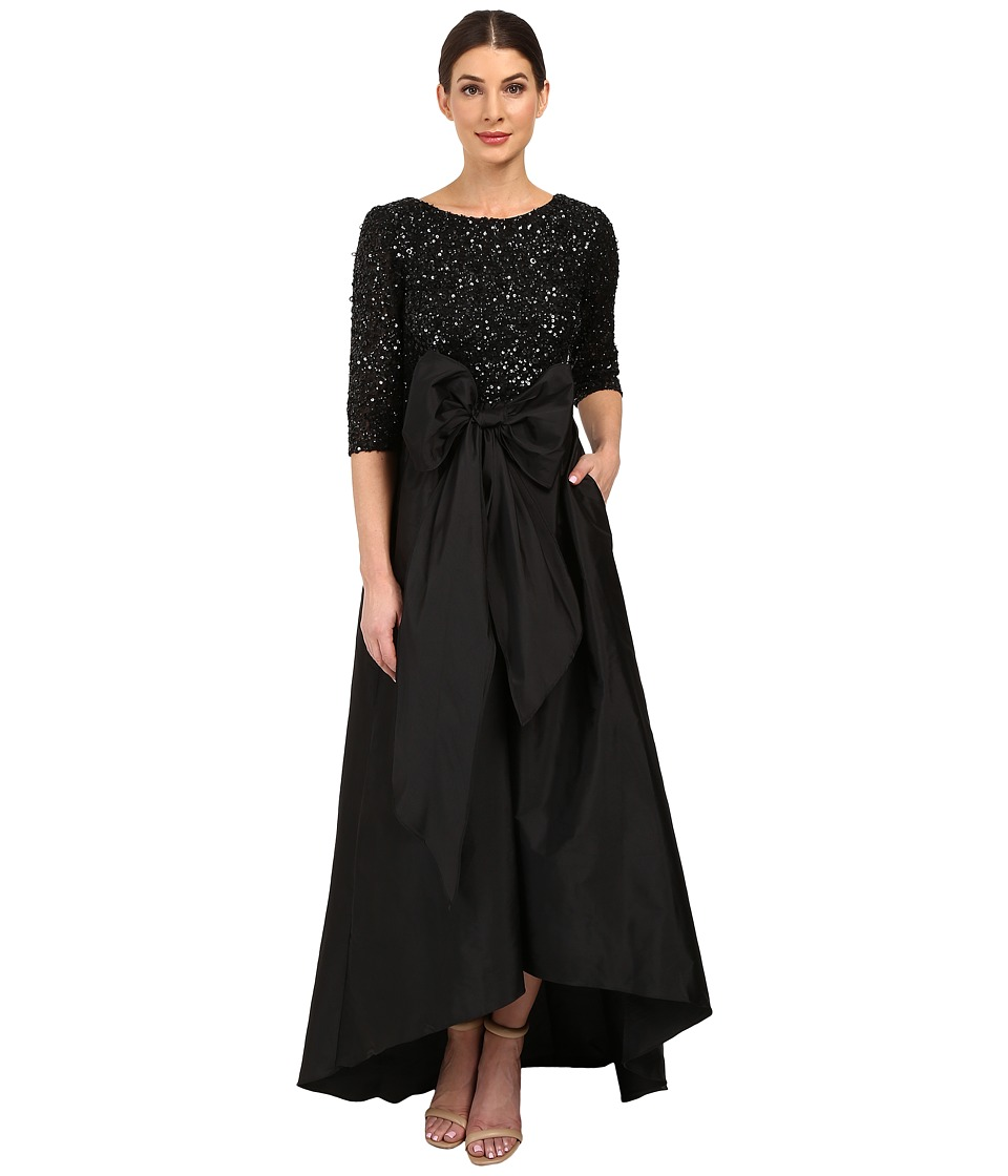 Adrianna Papell - 3/4 Sleeve Beaded Bodice Taffta Gown (Black) Women's Dress