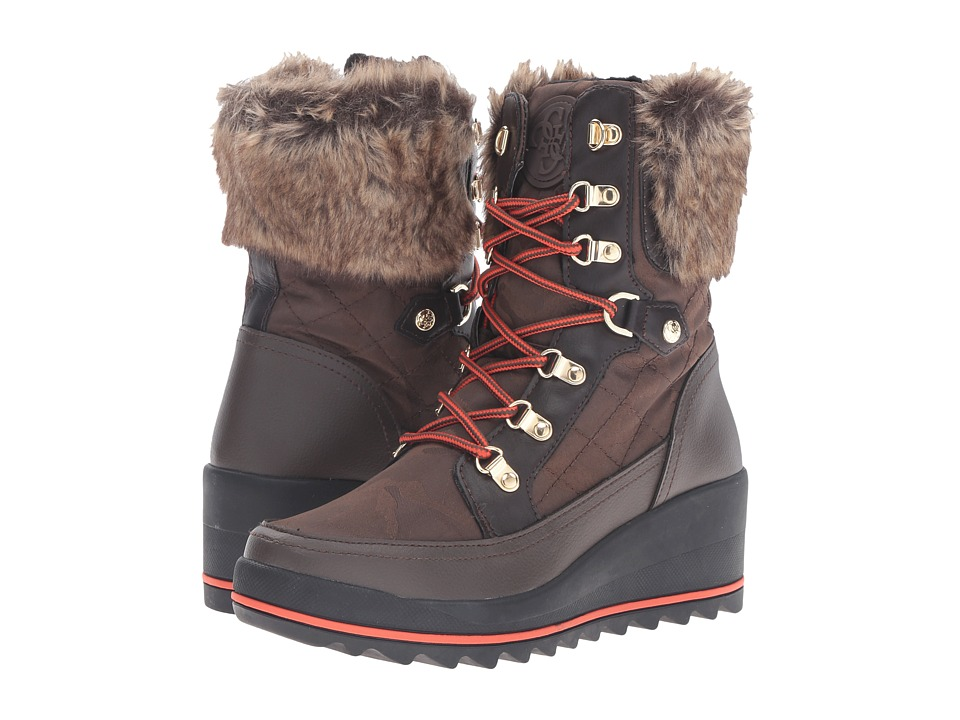 GUESS - Leland (Dark Brown) Women's Lace-up Boots