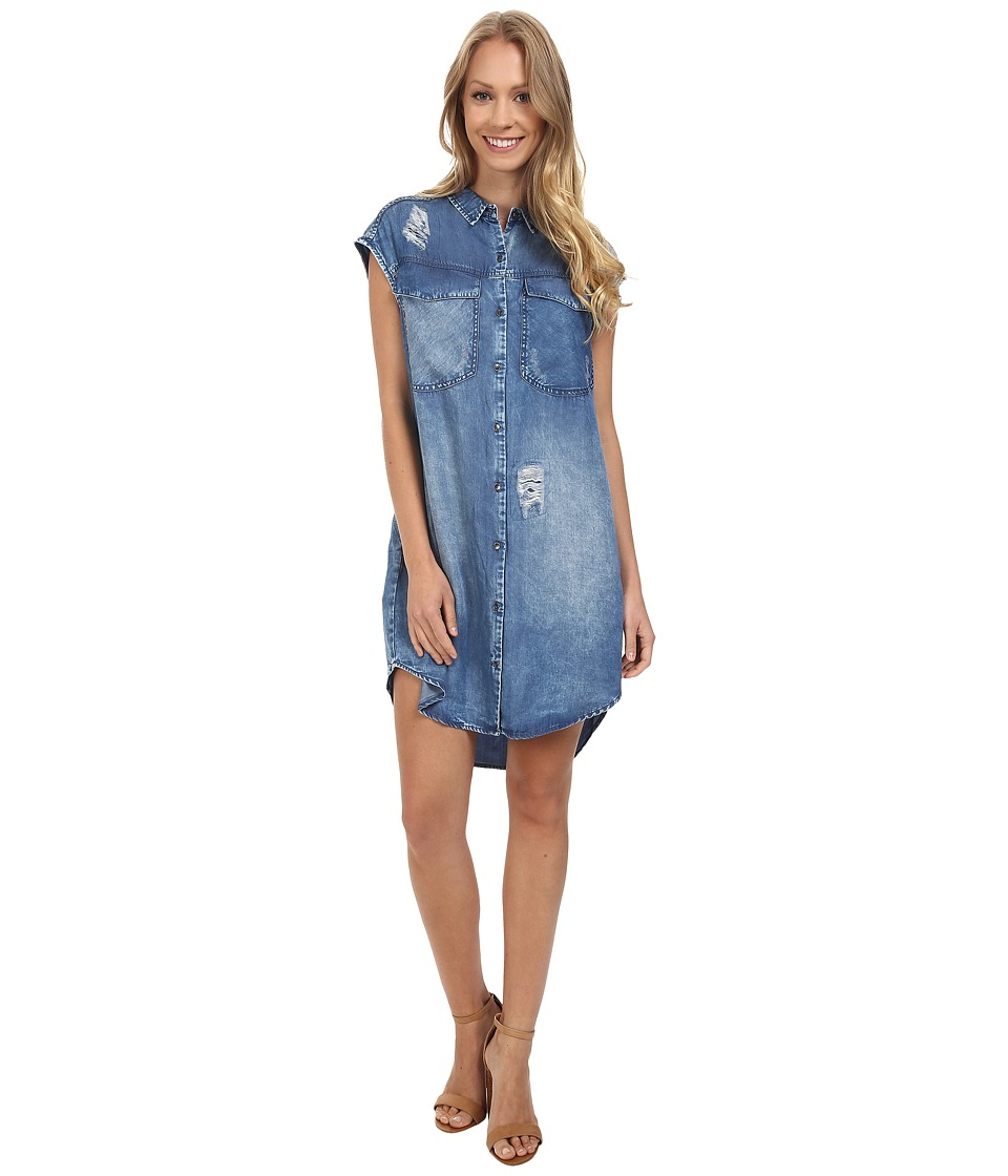 Calvin Klein Jeans - Sleeveless Button Down Dress (Destroyed Cobal) Women's Dress