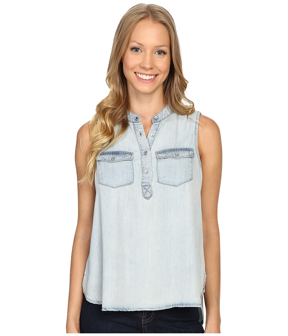 Calvin Klein Jeans - Garment Dyed Tencel Short Sleeve Woven Shirt (Light Blue) Women's Clothing