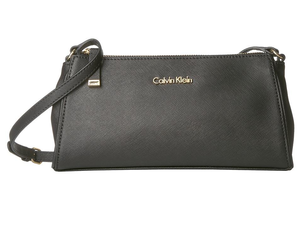 Calvin Klein - Saffiano Crossbody (Black/Gold) Cross Body Handbags