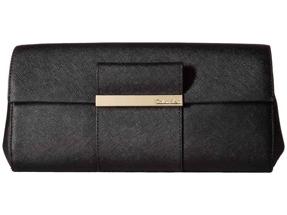 Calvin Klein - Evening Saffiano Leather Clutch (Black) Clutch Handbags