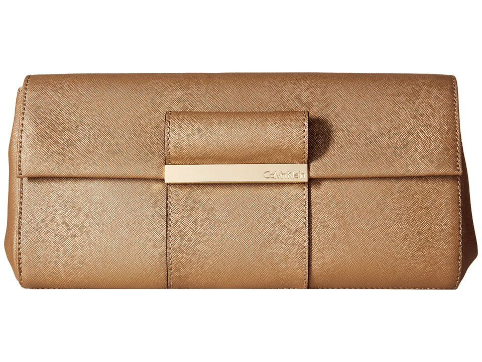 Calvin Klein - Evening Saffiano Leather Clutch (Gold) Clutch Handbags