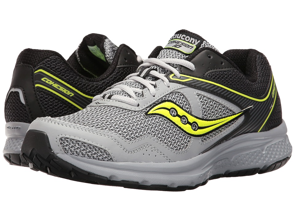 Saucony - Cohesion 10 (Black/Grey/Citron) Men's Shoes