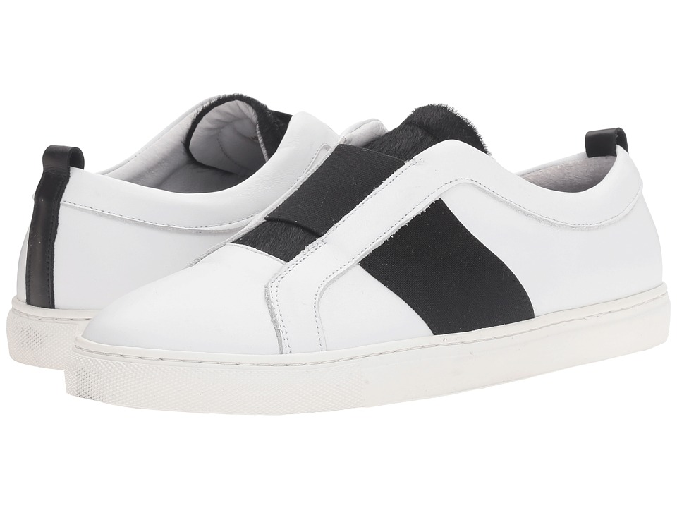 Matt Bernson - Trifecta (White/Black Leather/Black Pony) Women's Flat Shoes