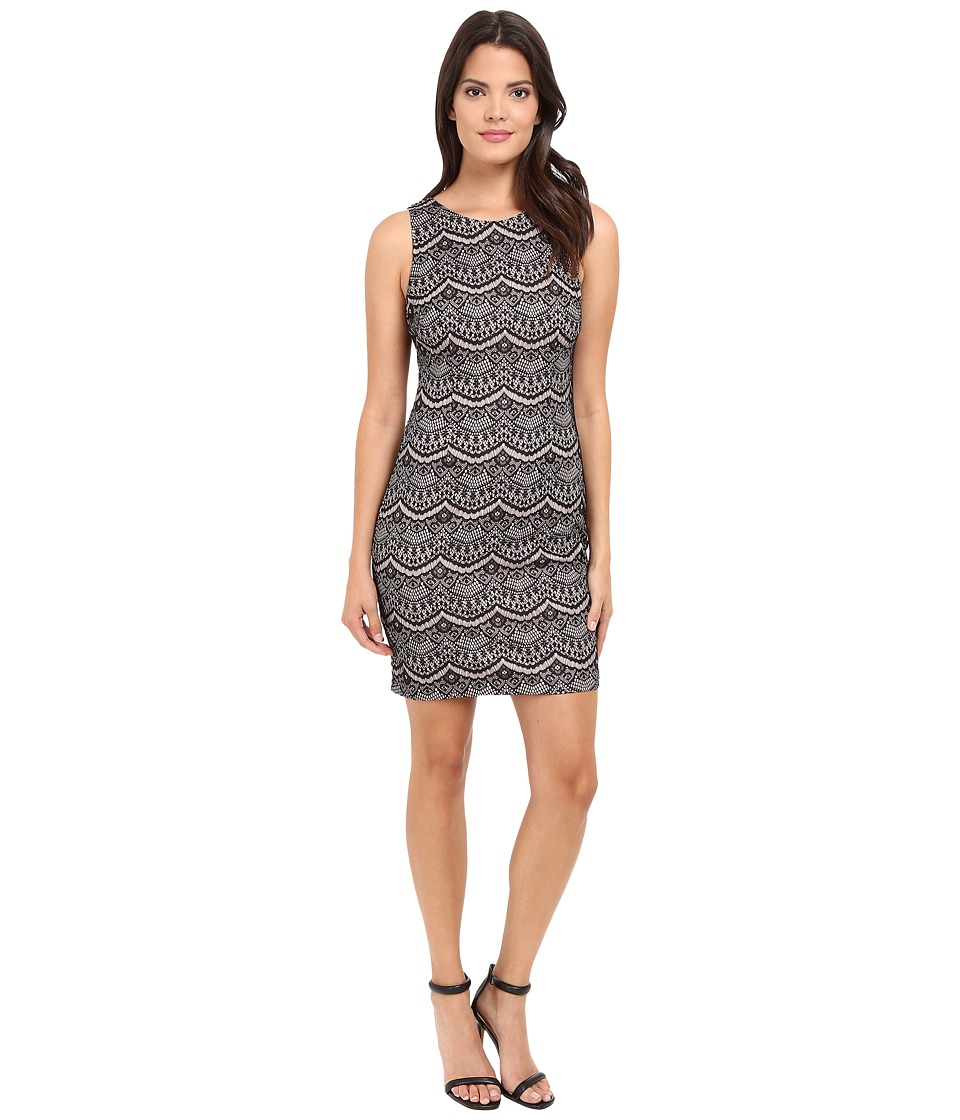 Jessica Simpson - Bonded Lace Dress (Black/Shell Pink) Women's Dress