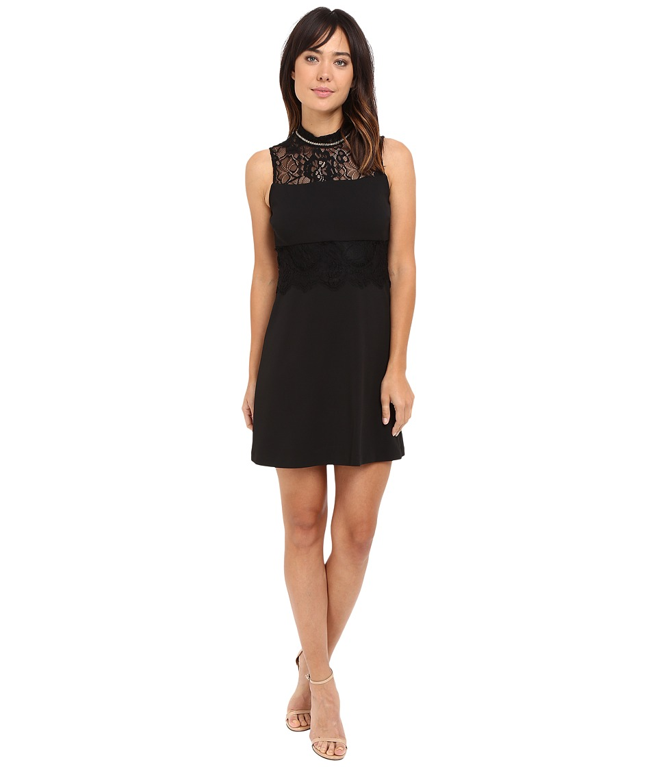 Jessica Simpson - Solid Scuba Crepe with Lace (Black) Women's Dress