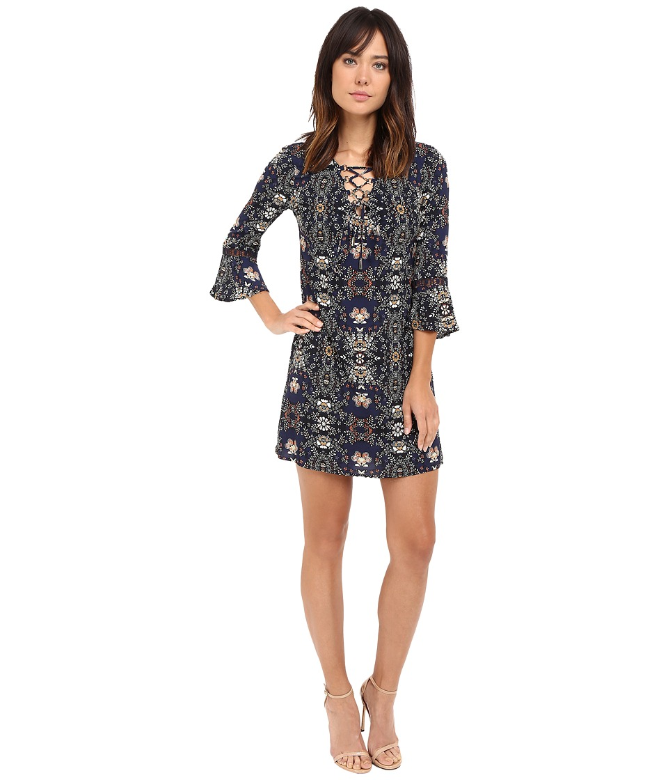 Jessica Simpson - Printed Lace-Up Shift Dress (Print) Women's Dress