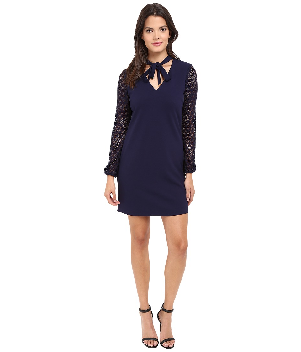 Jessica Simpson - Solid Shift with Lace Sleeves (Peacoat) Women's Dress