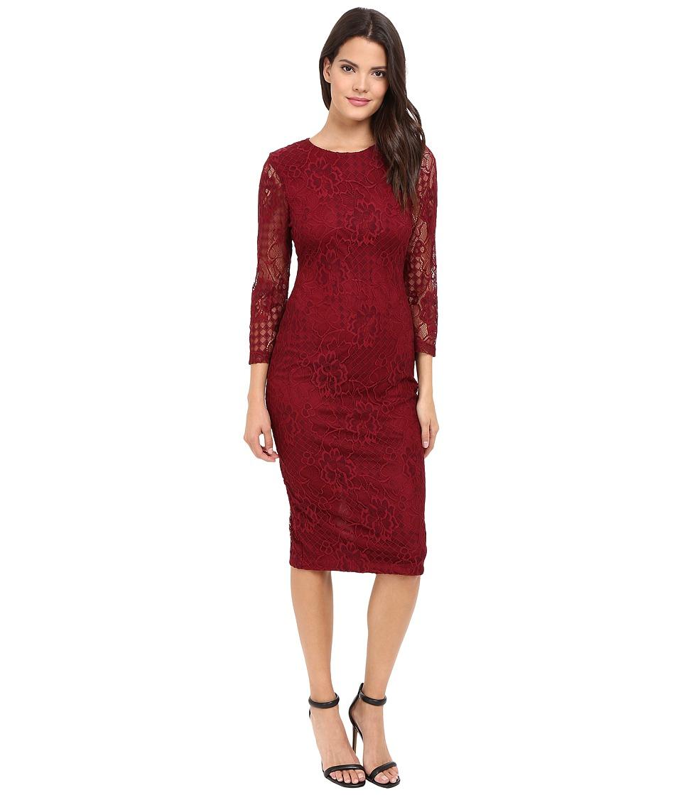 Jessica Simpson Floral Lace Midi Dress (Cabernet) Women